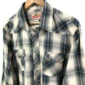 Wrangler Blue Plaid Pearl Snap Button Up Shirt Lrg